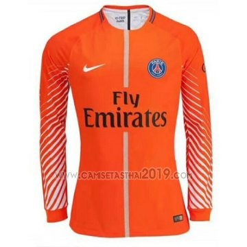 Camiseta Paris Saint-Germain Portero Manga Larga 2017-2018 Naranja ... 3635b7ec35c77