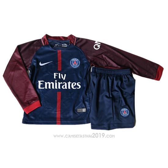 Camiseta Paris Saint-Germain Primera Nino Manga Larga 2017-2018 ... 8b2084b0dbbde