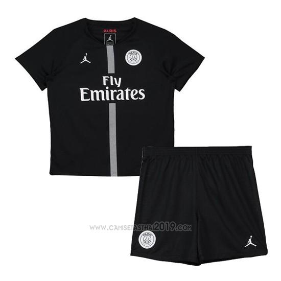 cd427e4eb4b21 Camiseta Paris Saint-Germain Tercera Nino 2018-2019 Negro ...