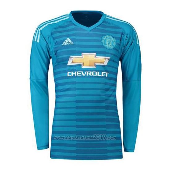 Camiseta Manchester United Portero Manga Larga 2018-2019 Azul ... 4e98faa47990